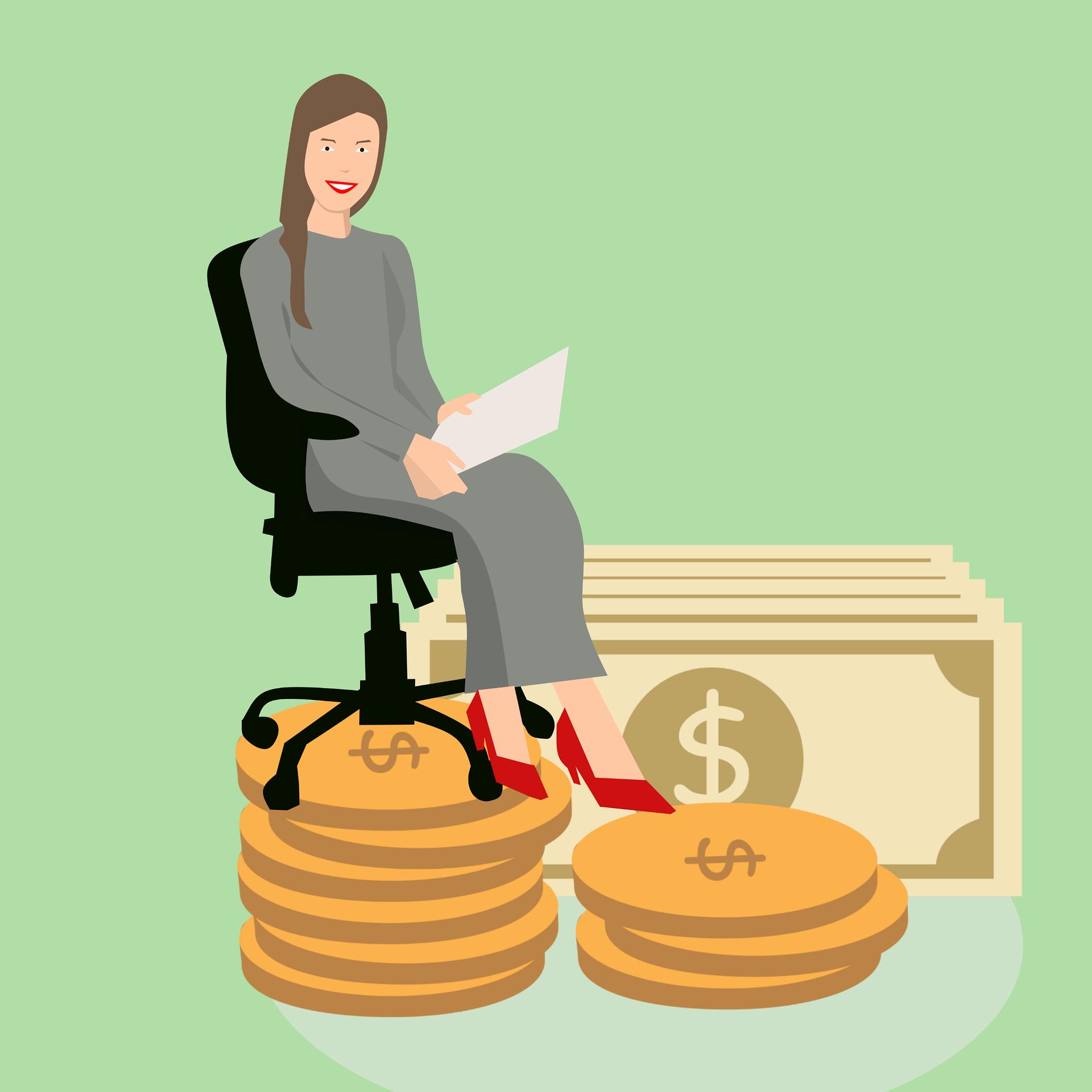 mujer rica dinero
